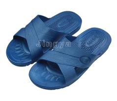 蓝色交叉款静电SPU拖鞋