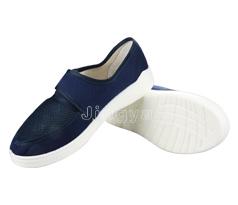 蓝帆布网眼鞋带魔术贴鞋