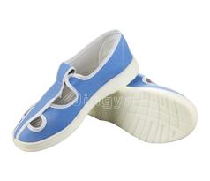 PVC浅蓝帆布四孔鞋