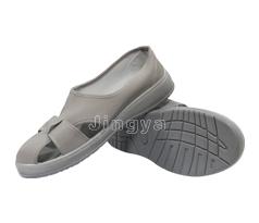 PU灰色皮革四孔鞋
